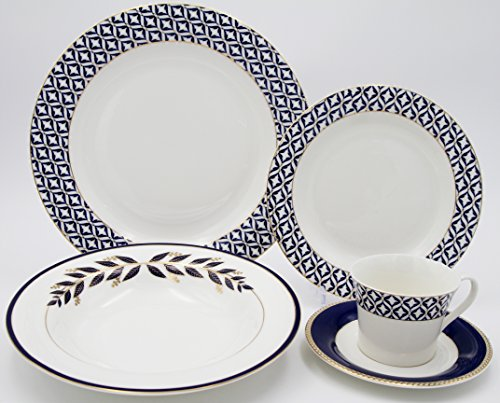 3941c300b1a8 EURO Porcelain 20-pc. Dinner Set Service for 4, 24K Gold-Plated