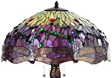 """Meyda Tiffany 31112 Hanginghead Dragonfly Collection 3-Light Table Lamp, Mahogany Bronze Finish with Dragonfly Stained Glass Shade, 22"""" x 22"""" x 31"""""""