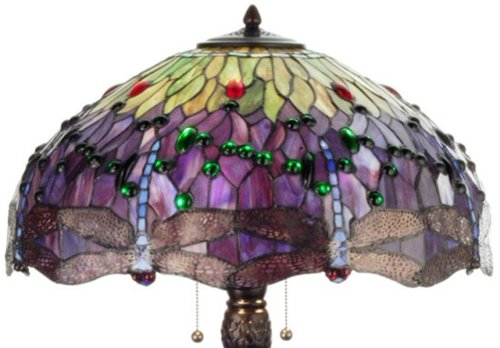 Meyda Tiffany 31112 Hanginghead Dragonfly Collection 3-Light Table Lamp, Mahogany Bronze Finish with Dragonfly Stained Glass Shade, 22