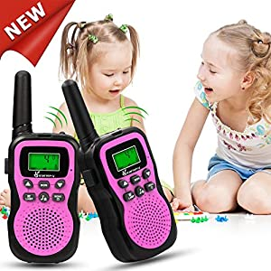Vansky Walkie Talkies for Kids Girls Toys Age 4 5 6 7 8, Long Range 22 Channel Built-in Flashlight 2 Way Radio, Outdoor Adventure Games, Camping, Hiking & More (Pink, 2 Pack)