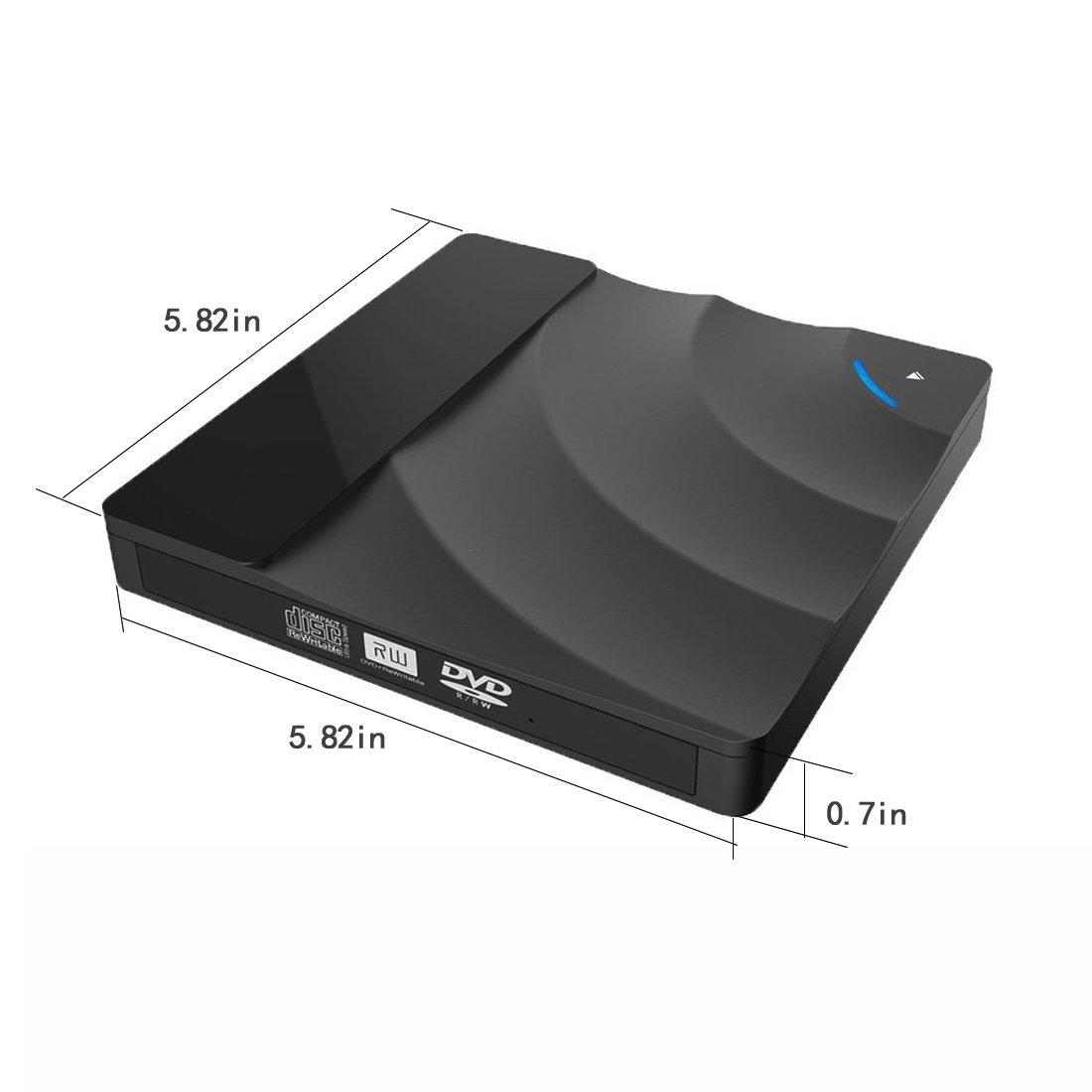 Sunreal External DVD Drive, USB 3.0 CD DVD Drive Ultra Slim Portable Touch Control CD/DVD Burner Writer Reader Player for Laptop/Desktop Computer, Support Windows/Vista/ Mac OS(Black) by Sunreal (Image #4)