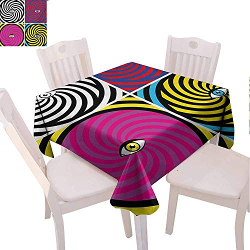 VICWOWONE Cafeteria Square Tablecloth Psychedelic Quick Wipe Pop Art Style Hypnotic Design Swirling Patterns with Eye in Centre Dizzy Focus (Square,W36 x L36) Multicolor (World Trade Center Woman In The Hole)