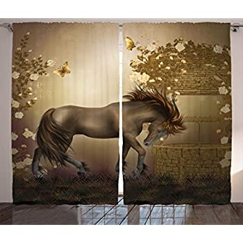 Ambesonne Mystic House Decor Collection, Horse in Roses Garden Butterflies Fantasy Moonlight Romantic Artistic illustration, Living Room Bedroom Curtain 2 Panels Set, 108 X 84 Inches, Beige Brown