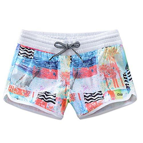 GSOU SNOW Women Sexy Print Hot Pants Summer Casual High Waist Drawstring Beach Shorts(Beach Print,M) ()