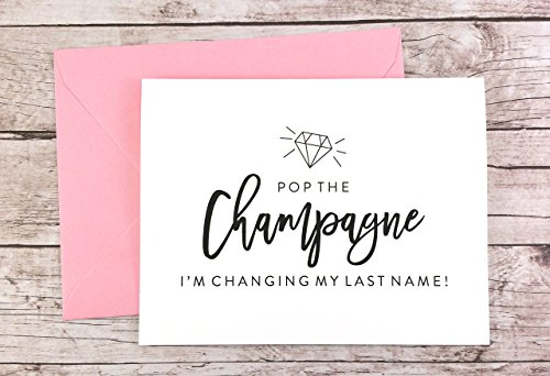 Pop the Champagne I'm Changing My Last Name Card, Will you be my Bridesmaid Card, Bridesmaid Proposal Card (FPS0057)