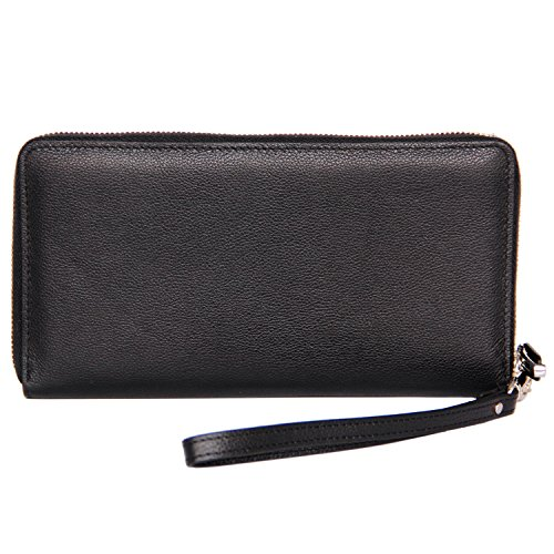 Women RFID Blocking Wallet Genuine Leather Zip Around Clutch Large Travel Purse Black