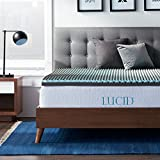 LUCID 2.5 Inch Duo Foam Bamboo Charcoal Mattress Topper - Dual Density Bamboo Charcoal and Gel Memory Foam - Hypoallergenic and Temperature-Regulating for Optimum Comfort - Queen