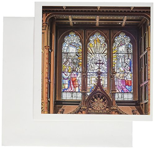 (3dRose Canada, Notre Dame Basilica Stained Glass - Greeting Cards, 6 x 6