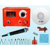 ELEOPTION 110V Crafts Gourd Wood Multifunction Pyrography Machine Heating Kit Tool with Accessories (50W) (Digital Display)