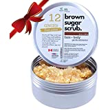Brown Sugar Scrub - Exfoliating Face & Body Scrub Fresh Ginger Sugar Aroma 100% Plant Ingredients Made in Canada - Aluminium Jar 8oz