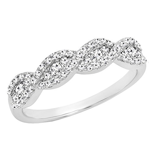 0.35 Carat (ctw) 10K White Gold Round Diamond Bridal Stackable Wedding Band 1/3 CT (Size 9)