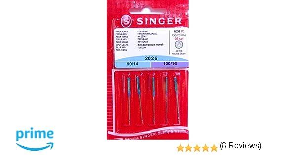 Singer 5 Original Coser Agujas 2026 Grosor 90/14 y 100/16 para Jeans 130/705 H de J: Amazon.es: Hogar
