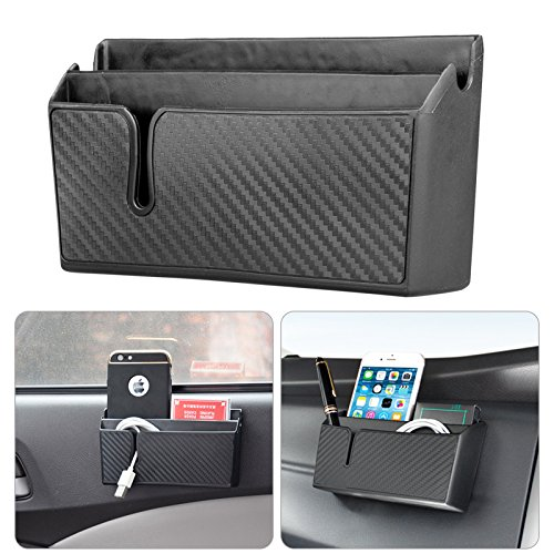 LinkStyle Car Organizer Pocket - with Double-Layer Sticker - Dashboard Phone Holder - Console Organizer - Coin Holder - Auto Console Storage for Phones, Earphones, Sunglasses