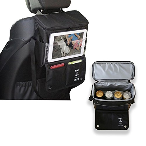 Car Back Seat Organizer Lunch Box with Cooler Small Portable Truck SUV Bag Multi-Pocket for iPhone iPad Outdoor Travel Insulated Black Bottle Warmer Storage for Baby Kids
