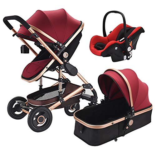 Olpchee Luxury High Landscape Baby Stroller Foldable Shockproof Infant Pushchair with Car Safety Seat Combo Travel System (Wine Red)