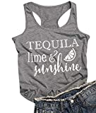 Tequila Lime and Sunshine Racerback Tank Top Women Summer Vacation Life Shirt Top Sleeveless Drinking Vest Tee Size M (Gray)