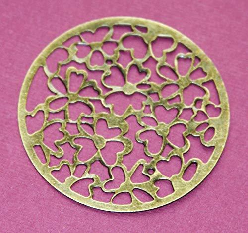 - 10 pcs Antiqued Brass Stamped Flower Flat Round 49mm, Iron Filigree Connector, Antique Bronze Filigree Stamp