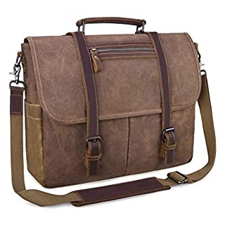 Mens Messenger Bag 15.6 Inch Waterproof Vintage Waxed Canvas Satchel Briefcase Shoulder Bag Retro Distressed Business Computer Laptop Leather Messenger Bag Brown