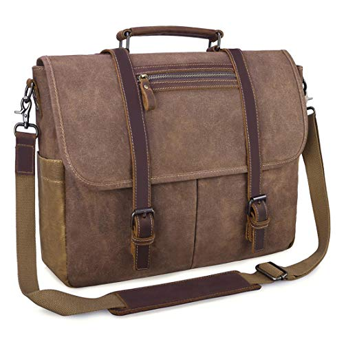 Mens Messenger Bag 15.6 Inch Waterproof Vintage Waxed Canvas Satchel Briefcase Shoulder Bag Retro Distressed Business Computer Laptop Leather Messenger Bag Brown by NUBILY (Image #1)