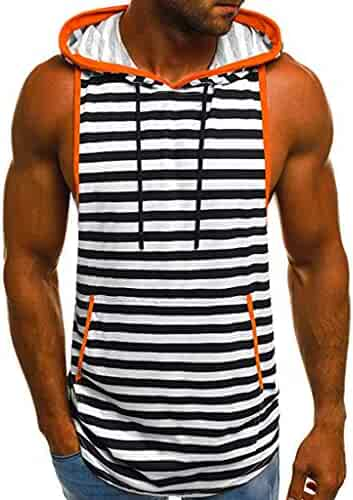 1ce780faeea Winsummer Men s Casual Striped Hoodie Tank Tops Summer Sleeveless Vest Gym  Workout T Shirts with Pockets