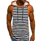 Hosamtel Men Hooded Sleeveless T-Shirt Hoodie Stripe Print Fashion Casual Loose Sport Vest Tank Tops Blouse with Pocket Black