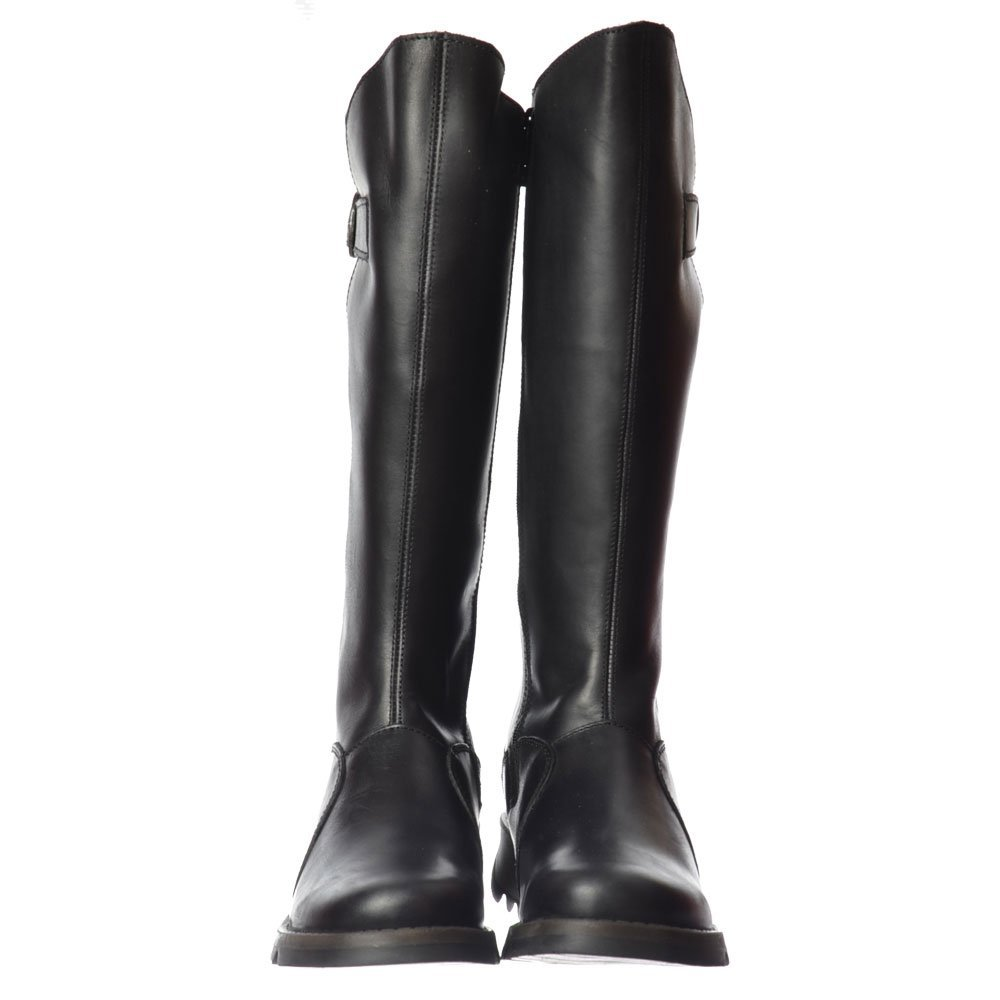 81b80b0900369 Womens Fly London Mol 2 Warm Knee High Wedge Biker Wedge Buckle Boots