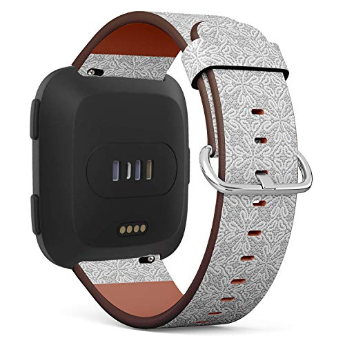 Compatible with Fitbit Versa, Leather Wristband Bracelet with Quick-Release Spring Pins -Vintage Greymade Tatting