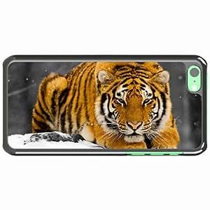 iPhone 5C Black Hardshell Case tiger snow predator hiding Desin Images Protector Back Cover