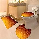 Bathroom Non-Slip Rug Set Decor African Tribal Wall Motifs Mask Ceremonial Mystical Artwork Burnt Orange in Bath Mat Bathroom Rugs