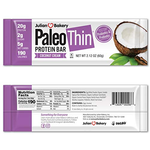 Paleo Protein Bar (Coconut Cream) 12 Bars (20g Egg White Protein) 5 Net Carbs (Organic Prebiotics / Probiotics)