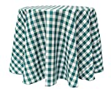 Ultimate Textile (2 Pack) 70-Inch Round Polyester Gingham Checkered Tablecloth - for Picnic, Outdoor or Indoor Party use, Teal and White