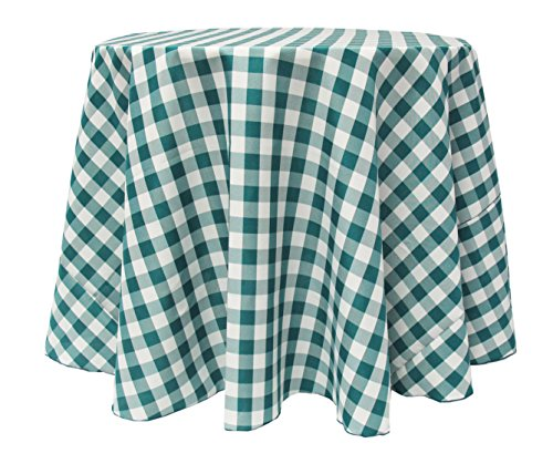 Ultimate Textile (10 Pack) 60 Inch Round Polyester Gingham Checkered  Tablecloth   For