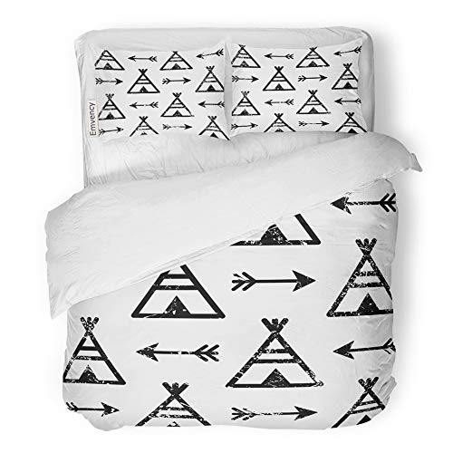 Teepee Native American Indian (Emvency 3 Piece Duvet Cover Set Brushed Microfiber Fabric Breathable Teepee and Arrows Aztec Indian Repetitive Native American Apache Tribal Bedding Set with 2 Pillow Covers Twin Size)