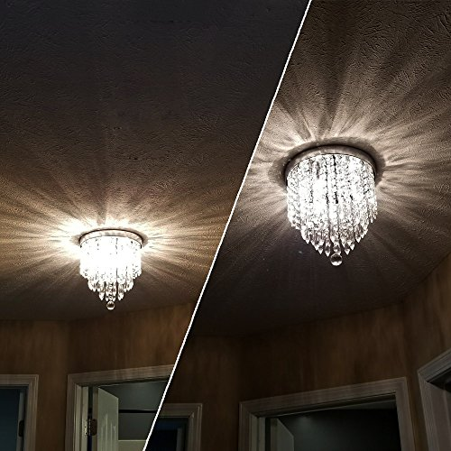 ZEEFO Crystal Chandeliers, Modern Pendant Flush Mount Ceiling Light Fixtures, 3 Lights, H10.2 W9.8 Inches, Contemporary Elegant Design Style Suitable For Hallway, Living Room, Dining Room by ZEEFO (Image #3)