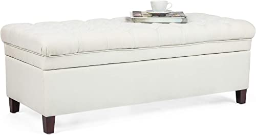 Asense Rectangular Tufted Storage Ottoman Bench