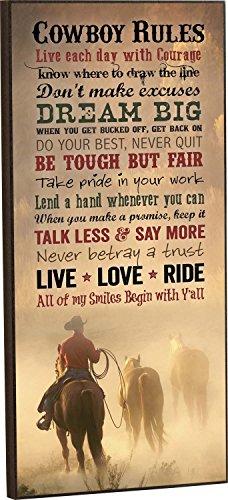 Cowboy Rules Mounted Wall Art 18 X 8