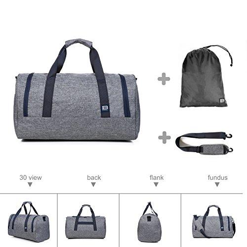 BAGSMART Duffle Bag Travel Duffel Bag Large Weekender Bag Carry-on Luggage with Shoe Bag 40L, Grey