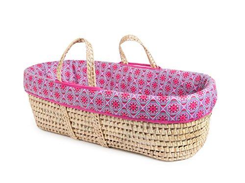 Tadpoles Moses Basket and Bedding Set, Grey & Pink Davida