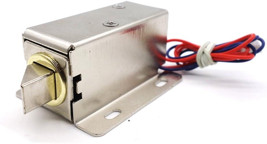 Cerradura de Puerta Electrónica, DC 12V Cerradura Eléctrica de Solenoide para Control de Acceso del Cajón del Gabinete