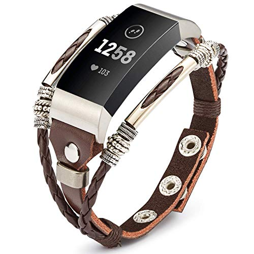 Marval.P Compatible for Fitbit Charge 3 Bands, Handmade Leather Charge 3 SE Band, Replacement Unique Bracelet Strap, Wristbands with Adjustable Size, Fashion Wrist Band Straps for Women Men Lover -