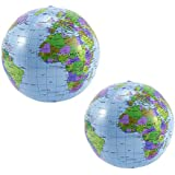 2 PCS 16 inch PVC Inflatable Blow up World Globe Beach Ball Globe for Party Bags