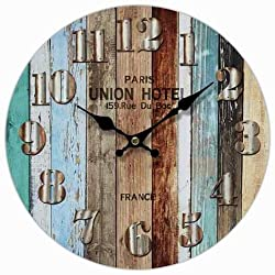 M&M Trading Wall Clock Multi Color Wood Planks Look 13 Round With Faux Metal Numbers