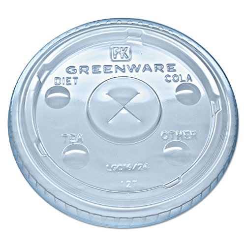 FABLGC1624 Greenware Cold Drink Lids, Fits 16-18, 24 oz Cups, X-Slot, Clear