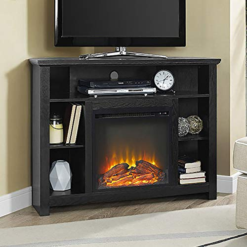 Simple Interior Corner Electric Fireplace Heater and TV Stand for TVs up to 48'' - Contemporary Piece of Furniture - Output 4500 BTUs - 18'' x 18'' Firebox and Open ()