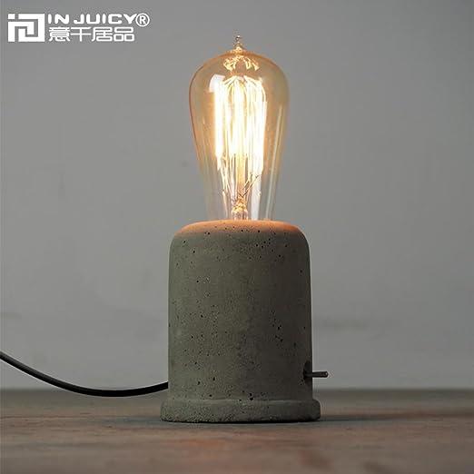 Injuicy loft vintage industrial edison cement desk accent lamps retro e27 led concrete table lights nightstand