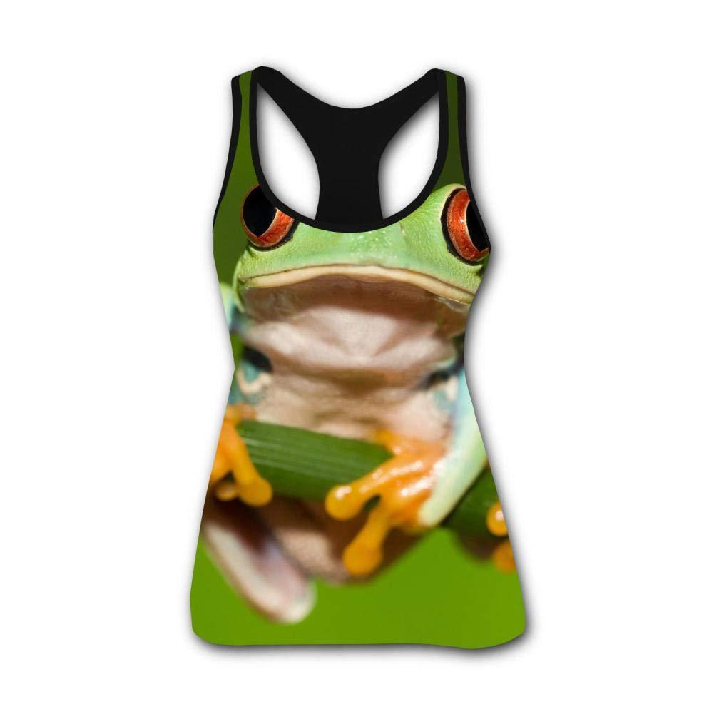 Frog Tree Green Polypedatid 3D Print Casual Custom Sleeveless Tanks Vest T-Shirt Women Girl S
