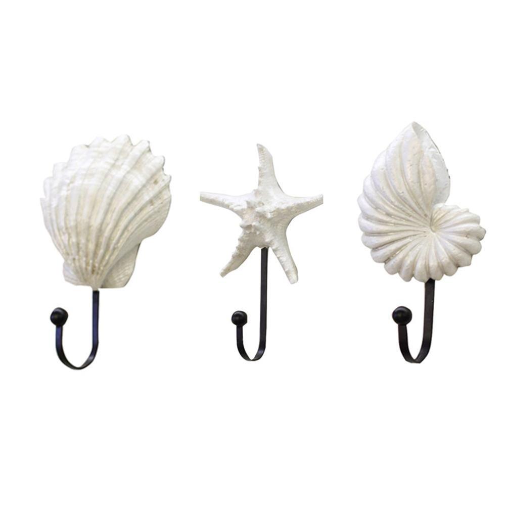 Awakingdemi 3pcs Scallop Shell Conch Resin Wall Hanger Hat Coat Hanging Decorative Hook