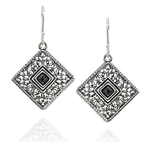 925 Sterling Silver and Black Onyx Gemstone Filigree Square Dangle Earrings Unique Women's Jewelry