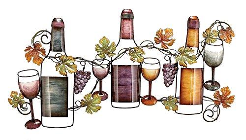 Benzara Classy Metal Based Wine Wall Décor, Multicolor