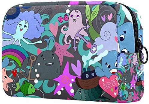Gepersonaliseerde makeup borstels tas draagbare toilettassen voor vrouwen handtas cosmetische reizen organisator zee schattig Octopus